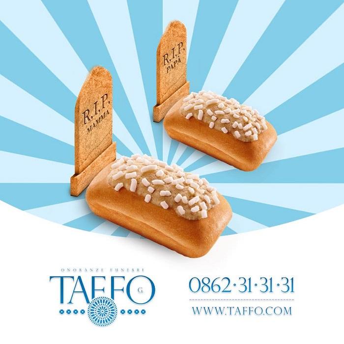 Taffo Funeral Services, pubblicità Buondì Motta