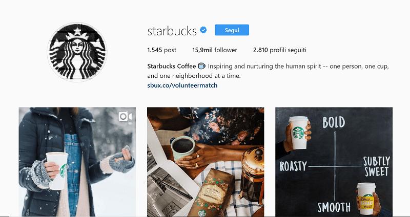 Profilo ufficiale di Starbucks su Instagram