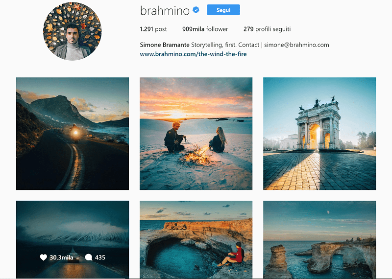 Simone Bramante su Instagram, tra fotografia e storytelling