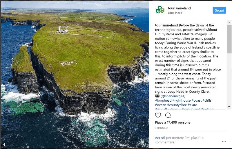 Pagina ufficiale di Tourism Ireland su Instagram