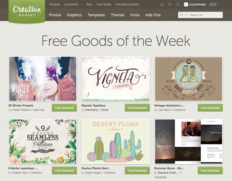 Creare un sito: Creative market